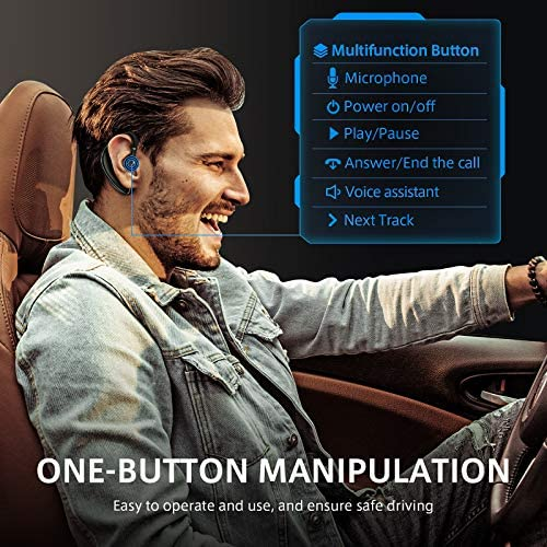 Bluetooth Earpiece for Cell Phone, Timmkoo S60 Single Ear Hands-Free Wireless Bluetooth Headset with Mic Apt-X CVC8.0 for iPhone, Samsung, Android, PC, Laptop, Tablet, TVs (Black)
