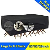 SARCCH Patio Furniture Cover, Outdoor Sectional Furniture Set Covers, Table Chair Sofa Covers,Durable and Convenient, Waterproof Snow Dust Wind Proof,Anti-UV Fits to 6-8 Seat (83''x52''x29'')