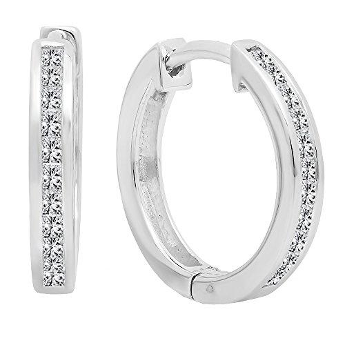Dazzlingrock Collection 0.33 Carat (ctw) 14K Princess White Diamond Huggie Hoop Earrings 1/4 CT, White Gold
