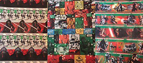 Disney Star Wars Christmas Wrapping Paper- Star Wars Wrapping Paper - Featuring: DARTH VADER, BB8, STORM TROOPERS, CHEWBACCA, R2D2 - 1-3 Rolls (3-pack 60sf (Halloween Bulletin Board Ideas For Toddlers)