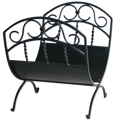 Wrought Iron Fireplace Decor (Uniflame, W-1035, Black Wrought Iron Log Rack with)
