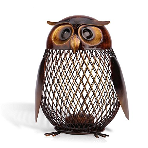 Intricate Metal - Owl Piggy Bank Handmade Sculpted using Metal Iron Material in Grid Shape Color Brown and Gold