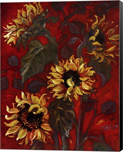 (Sunflowers I by Shari White Canvas Art Wall Picture, Museum Wrapped with Black Sides, 22 x 28 inches )