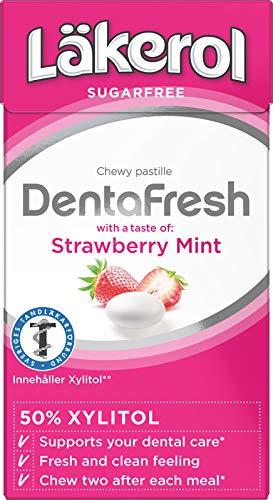 4 Boxes X 36g of Läkerol DentaFresh Strawberry Mint - Xylitol - Pastilles Lozenges Dragees Drops Candy Sweets (Sweden)