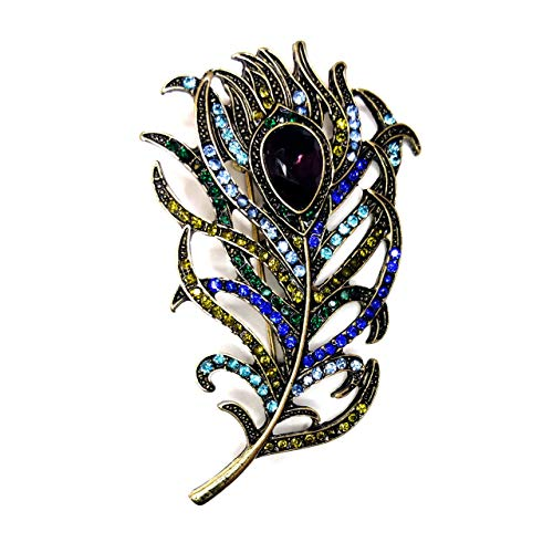 (Joji Boutique Antiqued Golden Feather Pin with Jewel-Tone Crystals)