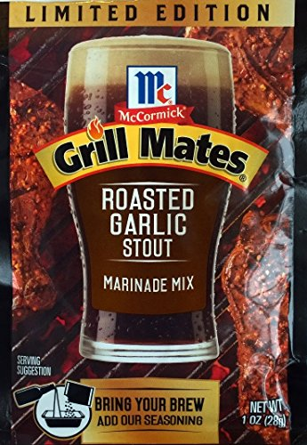McCormick Grill Mates: Roasted Garlic Stout Marinade Mix (Pack of 4) 1 oz Packets (Garlic Beer)