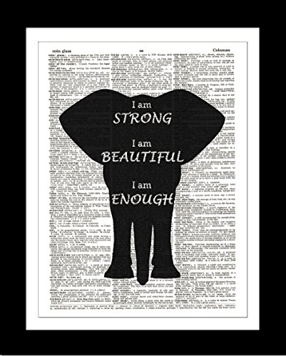 Black Elephant DICTIONARY ART PRINT Inspirational Quote - Wall Hanging Home Decor – Ready-to-Frame on Authentic Upcycled Vintage Dictionary Prints