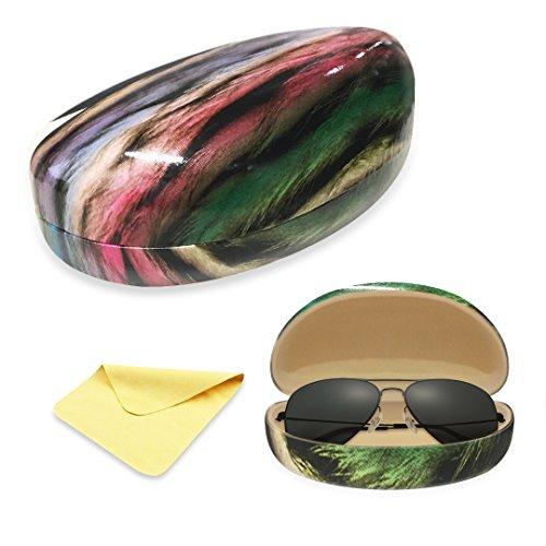 Yulan Hard Shell Sunglasses Case,Classic Extra Large Case for Oversized Sunglasses and Eyeglasses(Multicolor - Case Extra Sunglasses Large