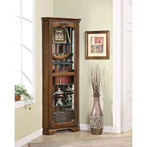 Superior Coaster Home Furnishings Traditional Curio Cabinet, Cherry