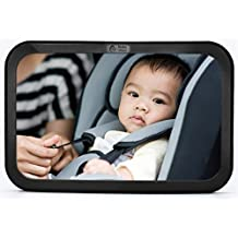Baby & Mom Back Seat Baby Mirror - Rear View Baby Car Seat Mirror Wide Convex Shatterproof Glass and Fully Assembled - Crash Tested and Certified for Safety