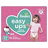 Pampers Easy Ups Pull On Disposable Potty Training Underwear for Girls, Size 4 (2T-3T), 74Count