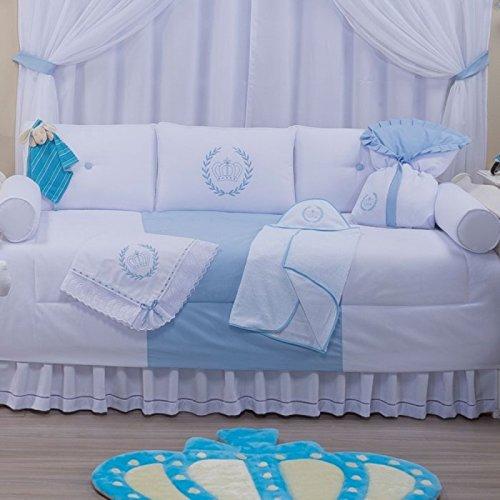 Jogo de Bicama Realeza 6 Peças, Laura Baby, Azul