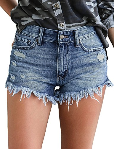- Lookbook Store Women's Mid Rise Frayed Ripped Raw Hem Denim Jean Shorts Blue Color, Size L