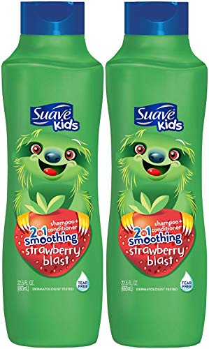 Suave Kids 2 in 1 Shampoo & Conditioner, Strawberry 22.5 oz (Pack of 2) (Suave Kids Hair Smoothers)