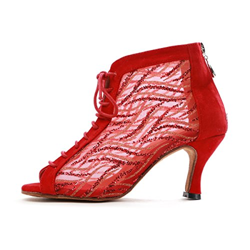 Lace Red Mesh Tango Latin Toe Ladies Dancing Evening up GL263 MINITOO 2 Peep UK 5 Ankle Shoes Boots xnRII8