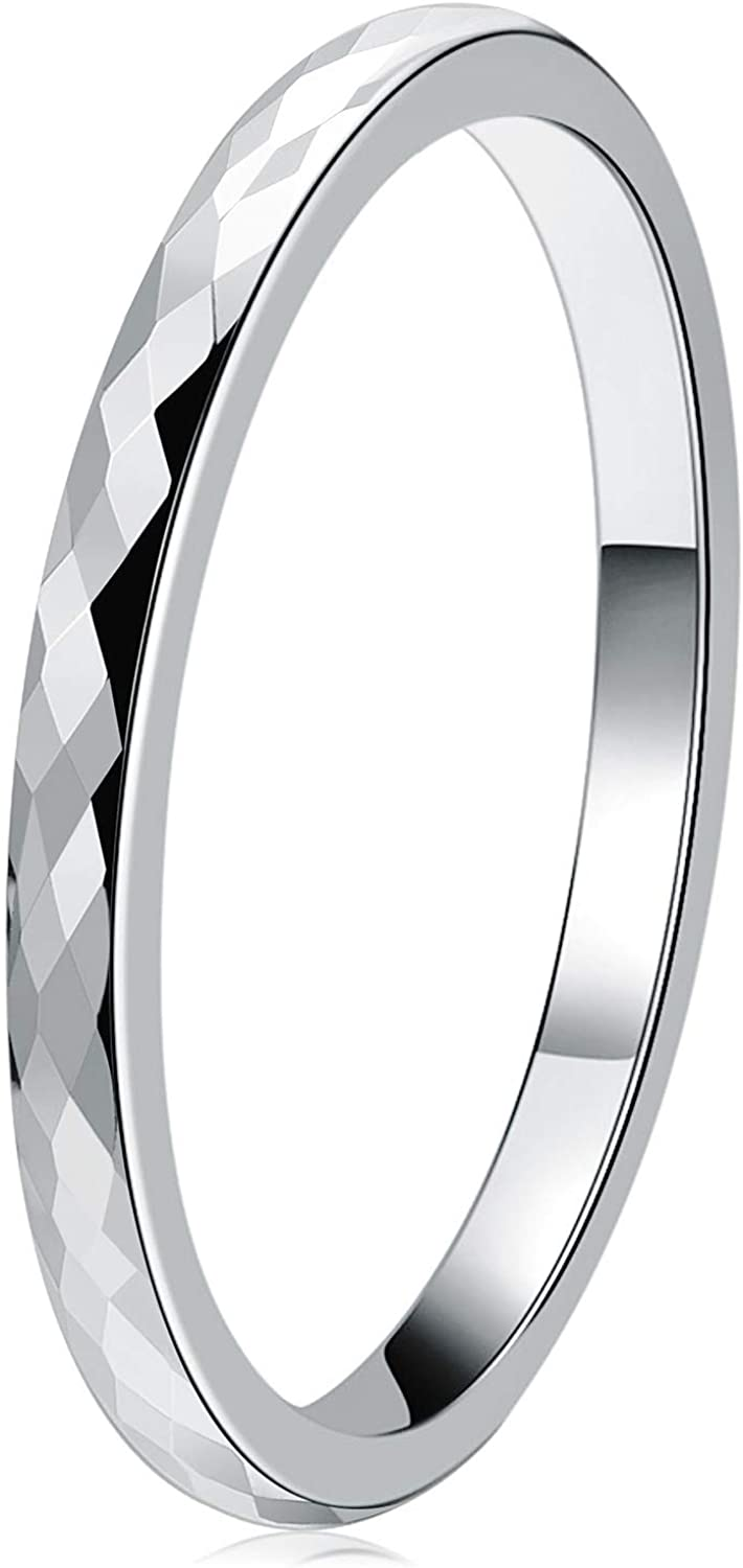 THREE KEYS JEWELRY Multi-Faceted Tungsten Wedding Rings 2mm 4mm 6mm Silver Bands for Men Women