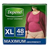 Depend FIT-FLEX Incontinence Underwear for Women, Maximum Absorbency, XL, 48 Count