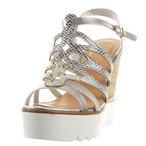 Sopily - damen Mode Schuhe Sandalen Pumpe Plateauschuhe Römersandalen Schlangenhaut Multi-Zaum Schleife - Silber