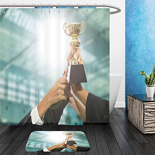 Vanfan Bathroom 2?Suits 1 Shower Curtains & ?1 Floor Mats businessman team holding award trophy for show their victory 450103363 From Bath (Businessman Zombie Costume)