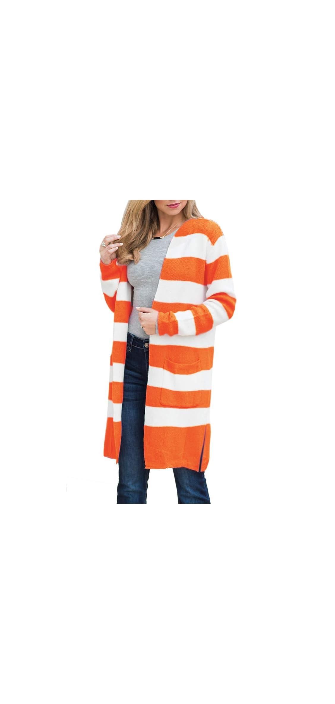 Womens Boho Long Cardigans Plus Size Color Block Striped Loose