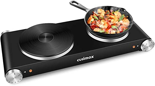 Cusimax Double Hot Plates, 1800W Double Burner, Portable Electric Hot Plate for Cooking, Countertop Cooktop, Cast Iron Stove, Heating Plate, Compatible with All Cookwares, Upgraded Version