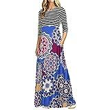 Kinrui Women Tank Dresses,Women Long Sleeve Striped Print Patchwork Pocket Bohemian Long Maxi Dress (Dark Blue, US:8)