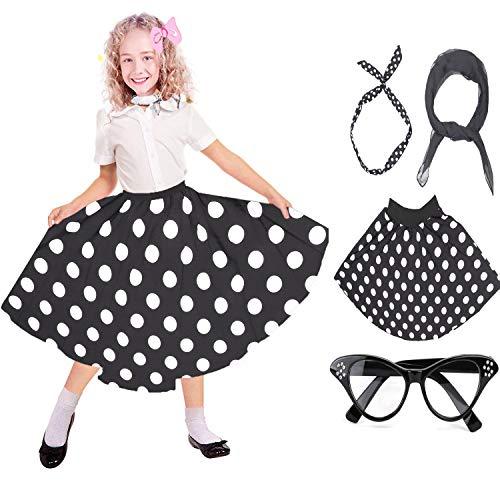 - Beelittle 50's Costume Accessories Set Girl Vintage Polka Dot Skirt Scarf Headband Cat Eye Glasses 50s Kid Costume (B-Black)