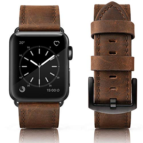 SWEES Leather Bands Compatible iWatch 42mm 44mm, Genuine Leather Vintage Replacement Strap Compatible iWatch Apple Watch Series 4 Series 3 Series 2 Series 1, Sports & Edition Men, Retro Walnut