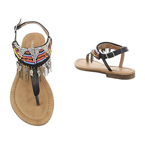 amp; Zehentrenner Schnalle Schwarz Blockabsatz Sandalen Zehentrenner 1 Ital Zehentrenner Damenschuhe Sandaletten BM201 Design n5fgxRWwq8