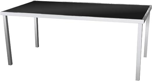 Aluminio/cristal 180 x 90 cm – Mesa de jardín aluminio mesa Terraza mesa Balcón Mesa muebles de jardín terraza Muebles – Plata/Negro: Amazon.es: Jardín