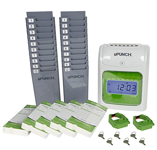 uPunch Time Clock Bundle with 100 Cards, 2 Ribbons, 2 Time Cards Racks, & 6 Keys (HN3500)