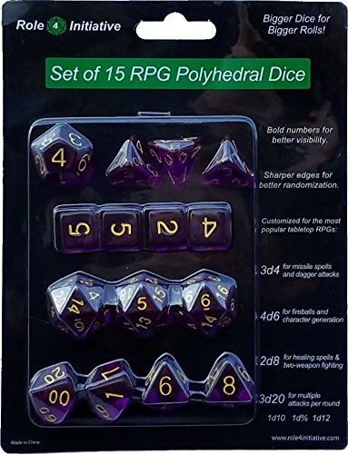 3d4 4d6 2d8 1d10 1d/% 1d12 3d20 Translucent Dark Purple with Gold Numbers Role 4 Initiative Set of 15 Large High-Visibility Polyhedral Dice