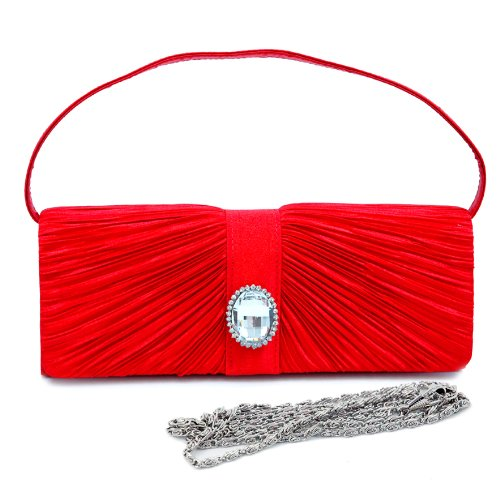 (Dasein Women's Pleated Flap Front Clutch Evening Purse Bag w/Rhinestone Accent -Red)