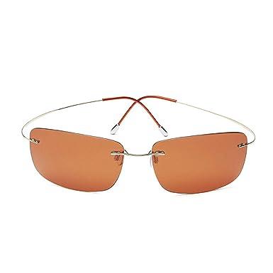 61b0b96158 Amazon.com  100% Titanium Rimless Rectangle Sunglasses Super Lighter  Hingeless Gafas Men Polarized Sun Glasses Eyewear Gold rim Brown  Clothing