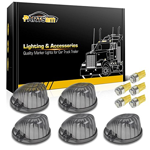 - Partsam 5X Round 1313A Cab Roof Top Light Smoke Cover+3020 W5W Amber LED Bulb Compatible with Chevrolet/GMC C/K Series Full Size Pickup Trucks 1973-1987