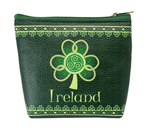 Clip Purse Ireland Shamrock Spiral  with a Green and Yellow Celtic Design ()