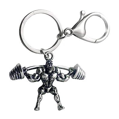 NiceButy metal llavero llavero hombre fuerte mancuerna llavero culturista coche cartera Accesorios anillo de Ropa