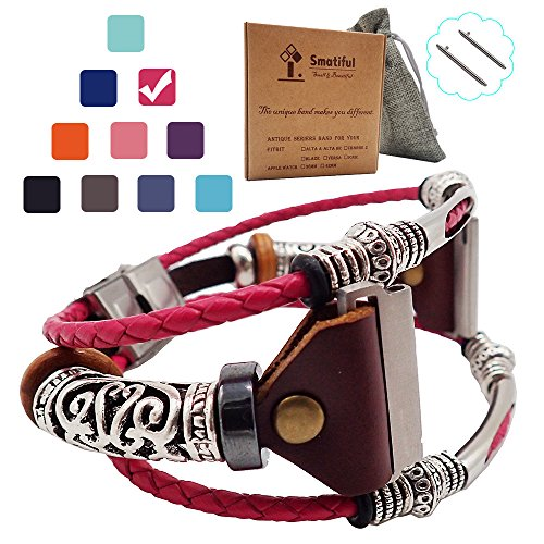 Non Waterproof Box (Smatiful Blaze Dressy Bands (Non Waterproof) with Box Pack for Womans, Adjustable Replacement Woven Leather Rope Watch Band for Fitbit Blaze, (Blush Plum Red) Shock Pink)
