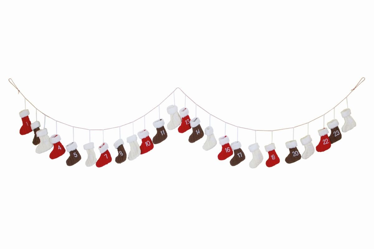 Knitted Boots Christmas Advent Calendar Garland - Nearly 3m Long! small foot company 2351