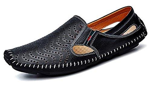 Mocassins En Cuir Véritable Hommes Glissent Sur Des Chaussures De Marche Par Trou Noir Jiye
