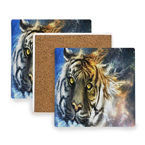 (Large Square Drink Coasters,Tiger Galaxy Ceramic Thirsty Stone With Cork Back Cup mats Protect Your Furniture From Spills,Scratches,Water Rings and Damage 4pcs)