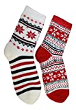 Cabin Socks Aloe Infused Double Layer 2 pack - 1 Nordic Pattern and 1 Flower (red and black)