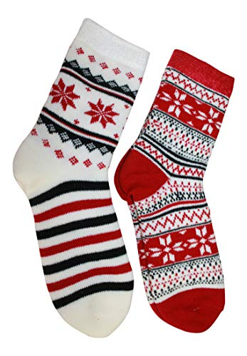 Cabin Socks Aloe Infused Double Layer 2 pack - 1 Nordic Pattern and 1 Flower (red and black) by Outdoor Socks and Gear
