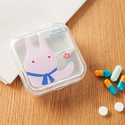 Gotian Mini Drug Box is Packed with Small Medicine Box One Week Travel Tablets and Drug ~ Cartoon Pattern Transparent Convenient Pill Box ~ 4 Compartment Packing (6.5x6.5cm) (Pink) ()