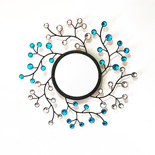 - Metal Wall Mirror Leaf Shaped Diamond Accents Blue Crystals Flower Decorative Living Room Wall Mirror Bathroom Wall Mirror 20''inch