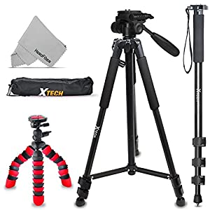 "Xtech Triple Tripod Kit with 72"" Inch Tripod + 72"" inch Monopod + 12"" Flexible Tripod for Canon Canon EOS Rebel T7i T7 T6i T6S T6 T5i T5 EOS 80D 77D 70D EOS 9000D 800D 760D 750D, EOS 6D Mark II EOS 5D"