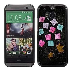 TECHCASE**Cubierta de la caja de protección la piel dura para el ** HTC One M8 ** Sticky Notes Paper Maple Leaf Autumn