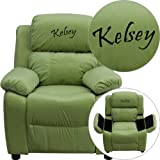 Product review for Flash Furniture Personalized Deluxe Heavily Padded Avocado Microfiber Kids Recliner with Storage Arms