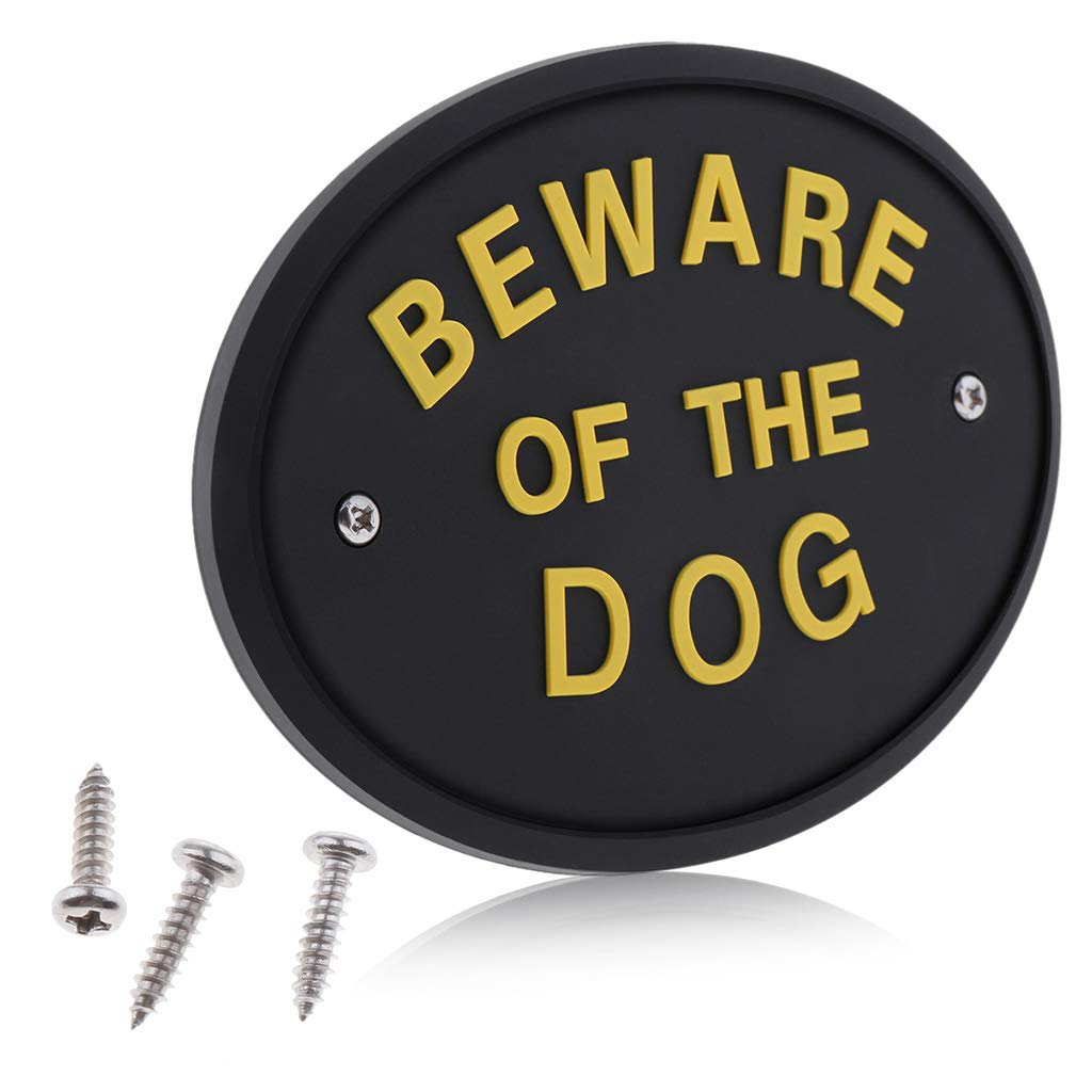 """Seafard """"Beware of The Dog Warning Sign, PVC Oval Front Door Wall Plaque Or House Garden Shed Use for Home Decor DIY Accessories 5x3.5x0.2 Inches"""