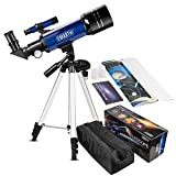 CSSEA 70mm Telescope for Kids and Astronomy Beginners, Travel Scope with Adjustable Tripod & Finder Scope & Two Eyepieces(K25mm & K10mm)-Perfect for Children Educational and Gift (B)